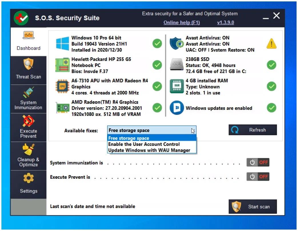 S.O.S. Security Suite :  Απαλλαγείτε από τα κακόβουλα προγράμματα  και βελτιστοποιήστε τον υπολογιστή σας