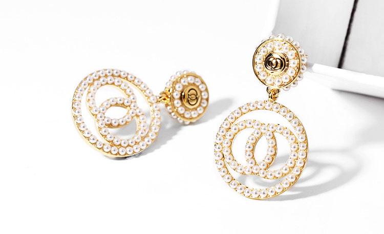 氣質圓圓擬珍珠耳環