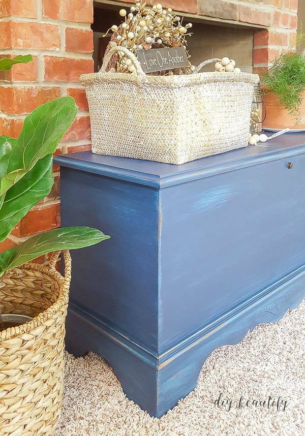painted trunk with home filing system