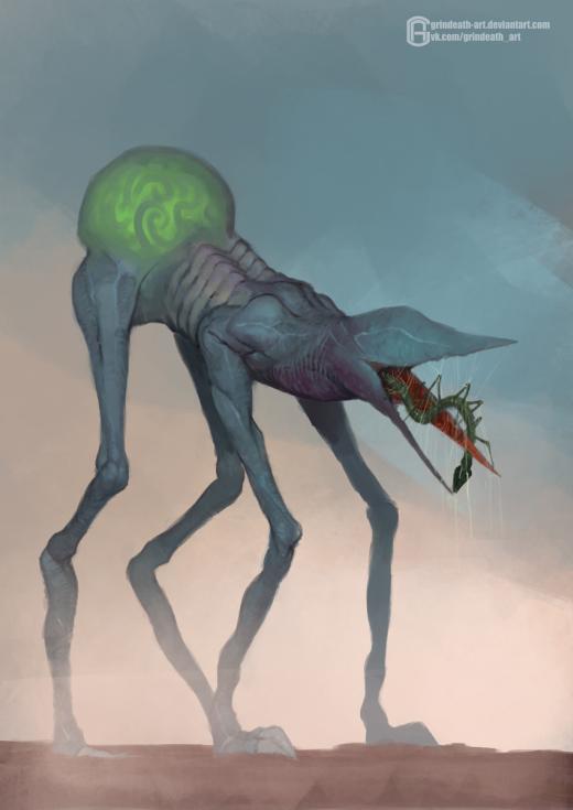Oleg Bulakh deviantart artstation arte ilustrações ficção fantasia sombria terror criaturas aliens xenomorfos