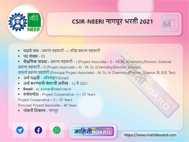 NEERI Nagpur Recruitment 2021