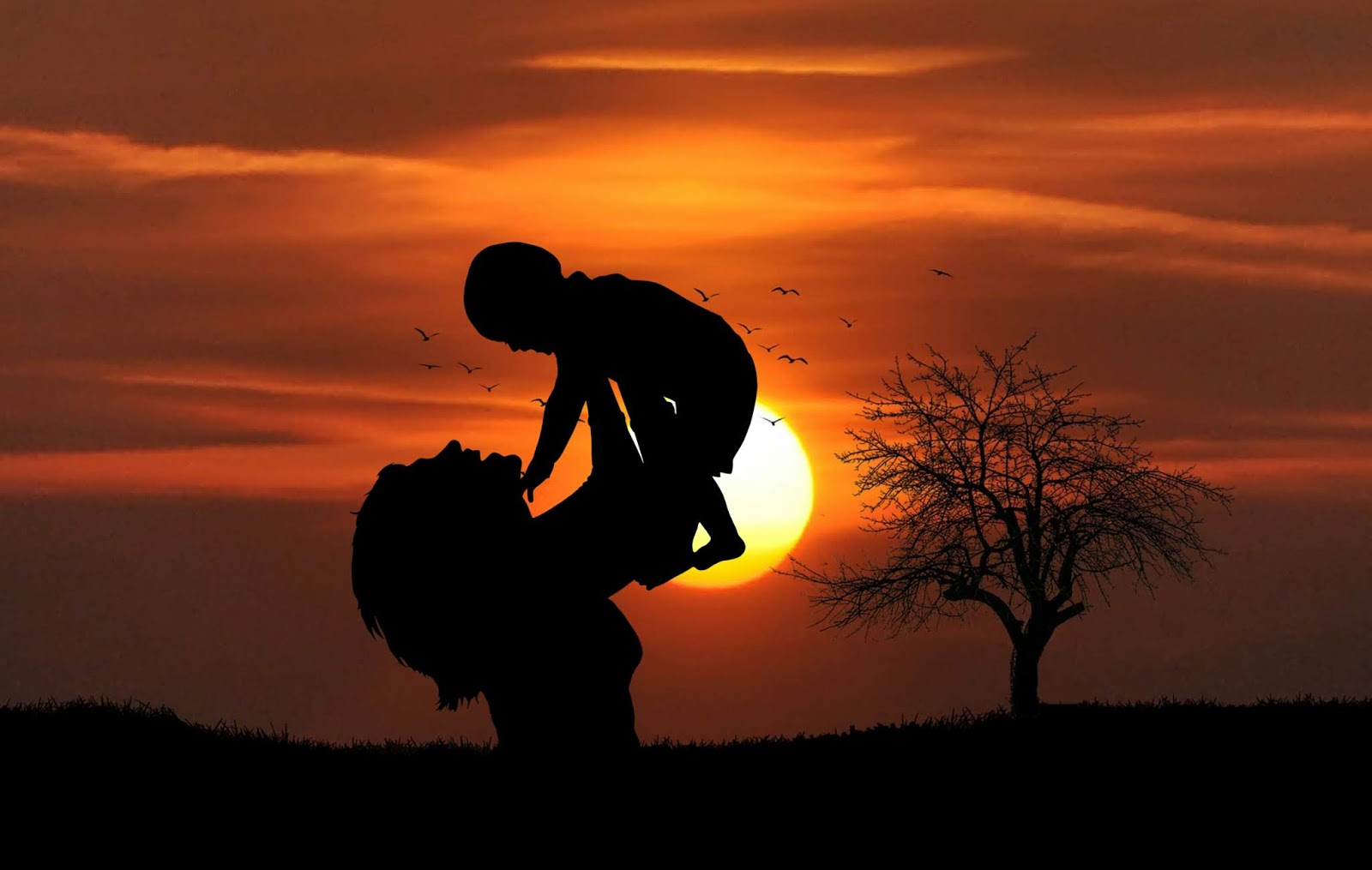 mother, baby, love, sunset, beach, playing, happy, together, silhouette, tree, sun, dusk, family, happiness, joyful
