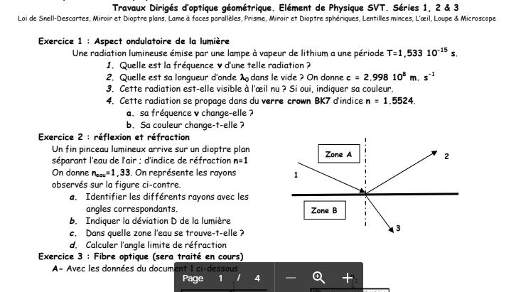 TD + Corrigée de L'optique géométrique svt pdf