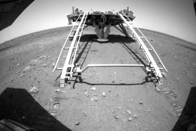 The Zhurong rover drove down the ramp onto the Mars surface.