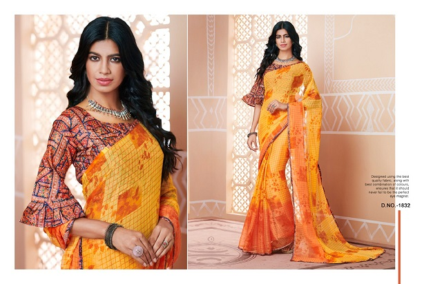 Yellow georgette printed casual sarees