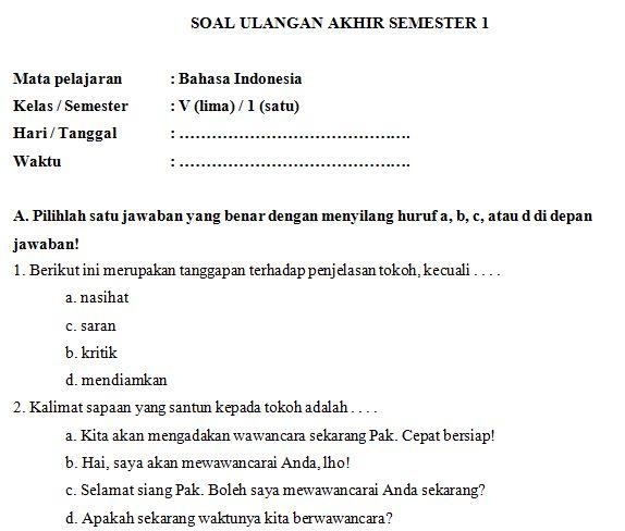 Download Kumpulan Soal UAS SD/MI Kelas V Semester 1 Mata Pelajaran Bahasa Indonesia Format Microsoft Word