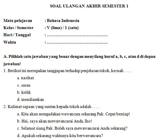 Download Kumpulan Soal Uas Sd Mi Kelas V Semester 1 Mata Pelajaran Bahasa Indonesia Format