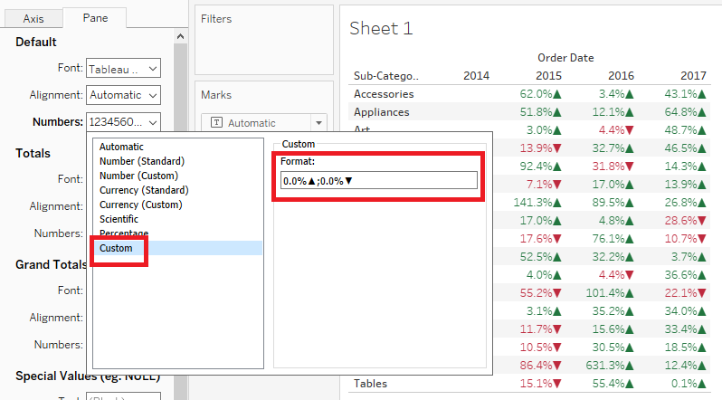 Tableau Expert Info Scenario 27 Adding Arrows And B Billions M Millions K Thousands By Custom Number Formatting