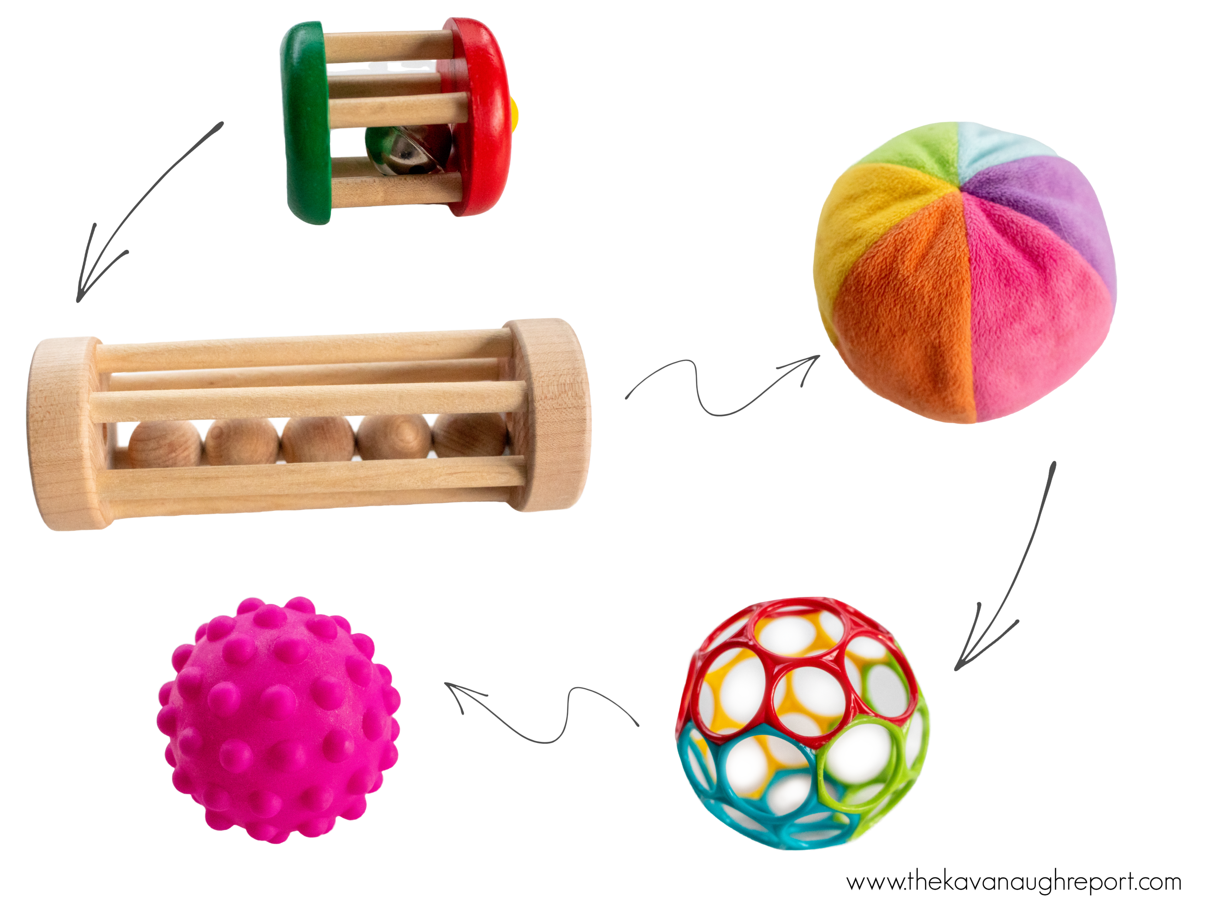 Here are some examples of Montessori baby toys that support early movement, especially crawling. These toys help babies learn to move.
