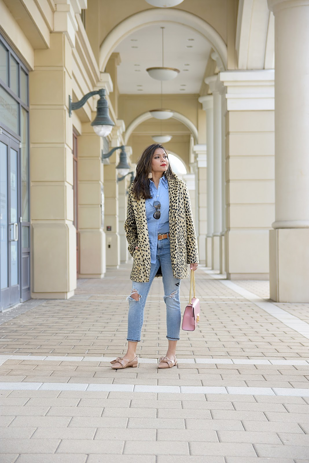 leopard coat , gap jeans, banana republic ruffle top, zara bow flats