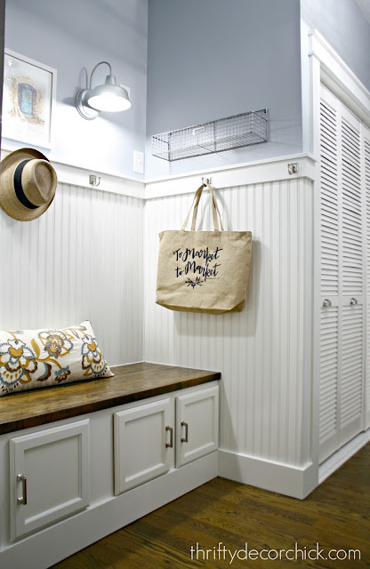 white beadboard in mudroom
