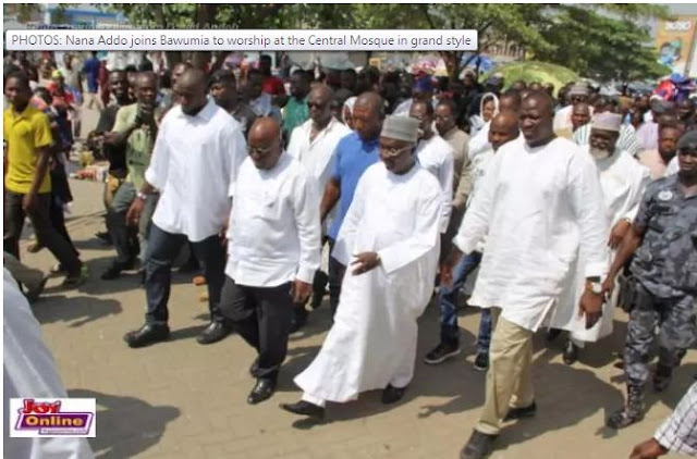 Nana Addo joins Bawumia to venerate at the Central Mosque in amazing style
