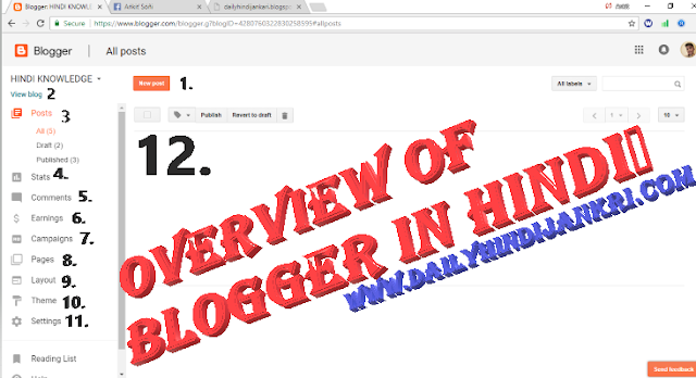 overview of blogger in hindi