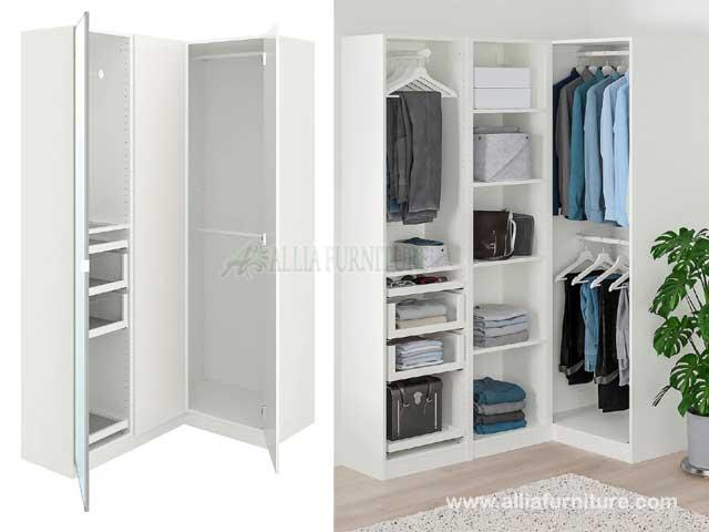 lemari pakaian sudut L 3 pintu