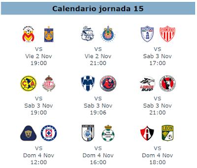 Calendario Futbol 2019.Fechas Y Horarios Para La Jornada 15 Del Futbol Mexicano Apuntes
