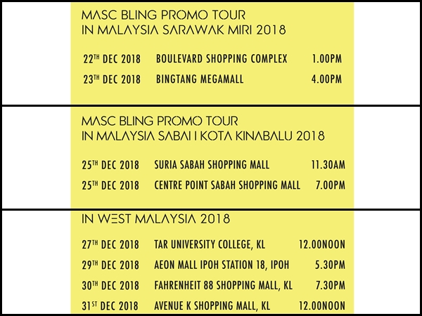 Masc Is Touring Malaysia For Over A Week This December