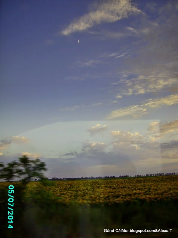 Moon - up in the sky; On the road Oradea-Budapest.