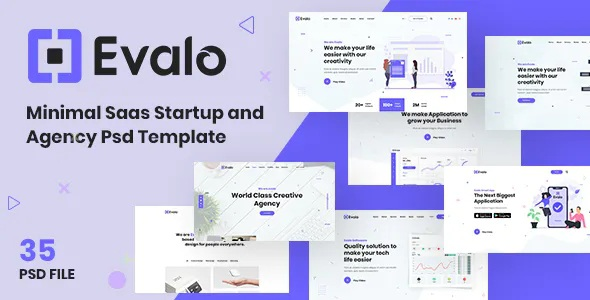 Best Minimal Saas Startup and Agency PSD Template