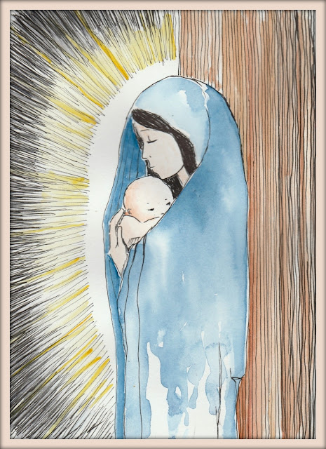 Mother Mary and Child water color painting