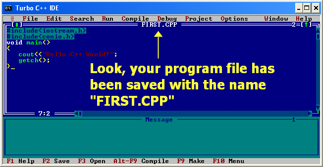 C++ program saved
