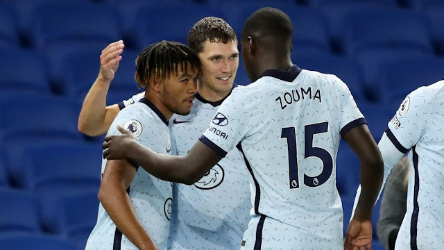 Christensen, Zouma celebrate with Reece James after the right back scores a screamer for Chelsea against Brighton