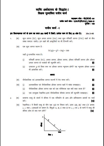 BECC 131 Solved Assignment in Hindi Medium; ignou becc 131 solved assignment in hm