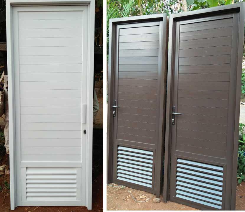 kusen pintu kamar mandi full aluminium ukuran 70x200 cm ketebalan 3 inchi. Tersedia warna putih, coklat, silver. Komplit dengan engsel, kunci, handle.