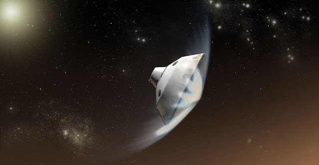 Artist's concept of the Mars Science Laboratory entry into the Martian atmosphere. Credit: NASA/JPL-Caltech
