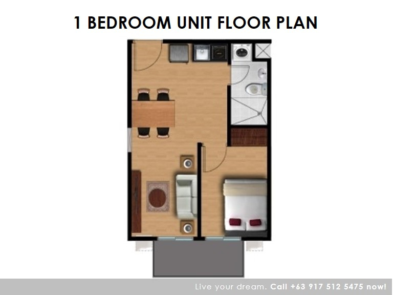 Floor Plan of One (1) Bedroom 34 Sqm - Camella Condo Homes Las Pinas | Condo for Sale Las Pinas City