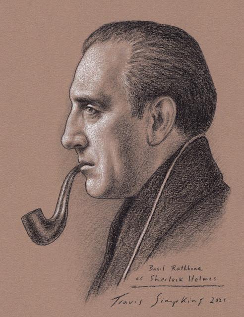 Basil Rathbone as Sherlock Holmes. Actor of Film and Radio. Sir Arthur Conan Doyle. by Travis Simpkins