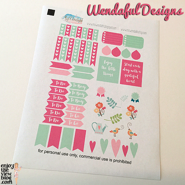 free printables from Wendaful Designs for Erin Condren life planner