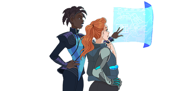 A dark skinned person in futuristic clothing demonstrating something on a floating touch screen to a pale-skinned person in different futuristic clothing with a metal arm.