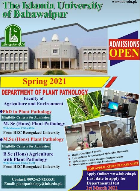 MS.c(Hons)  Plant Pathology & PhD In Plant Pathology in FA&E-IUB Spring-2021
