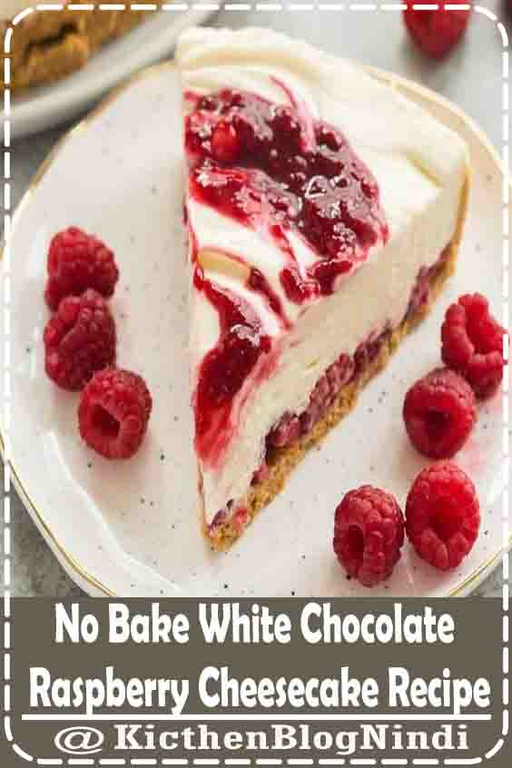 4.9★★★★★ | This White Chocolate Raspberry Cheesecake is an easy no bake cheesecake recipe for summer! It is SO smooth and creamy and you don't ever have to turn on the oven. It's the perfect no bake dessert for showing off summer berries. #Dissert #NoBake #White Chocolate #RaspberryCheesecake #Recipe