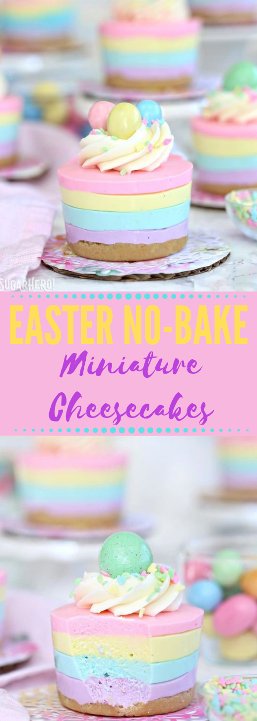 EASTER NO-BAKE MINI CHEESECAKES #cakes #desserts #brownies #rainbow #pie
