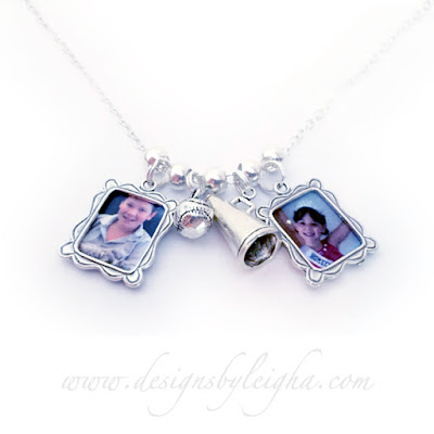 Sterling Silver Sports Charm Picture Necklace with a Baseball and Megaphone for Cheerleading