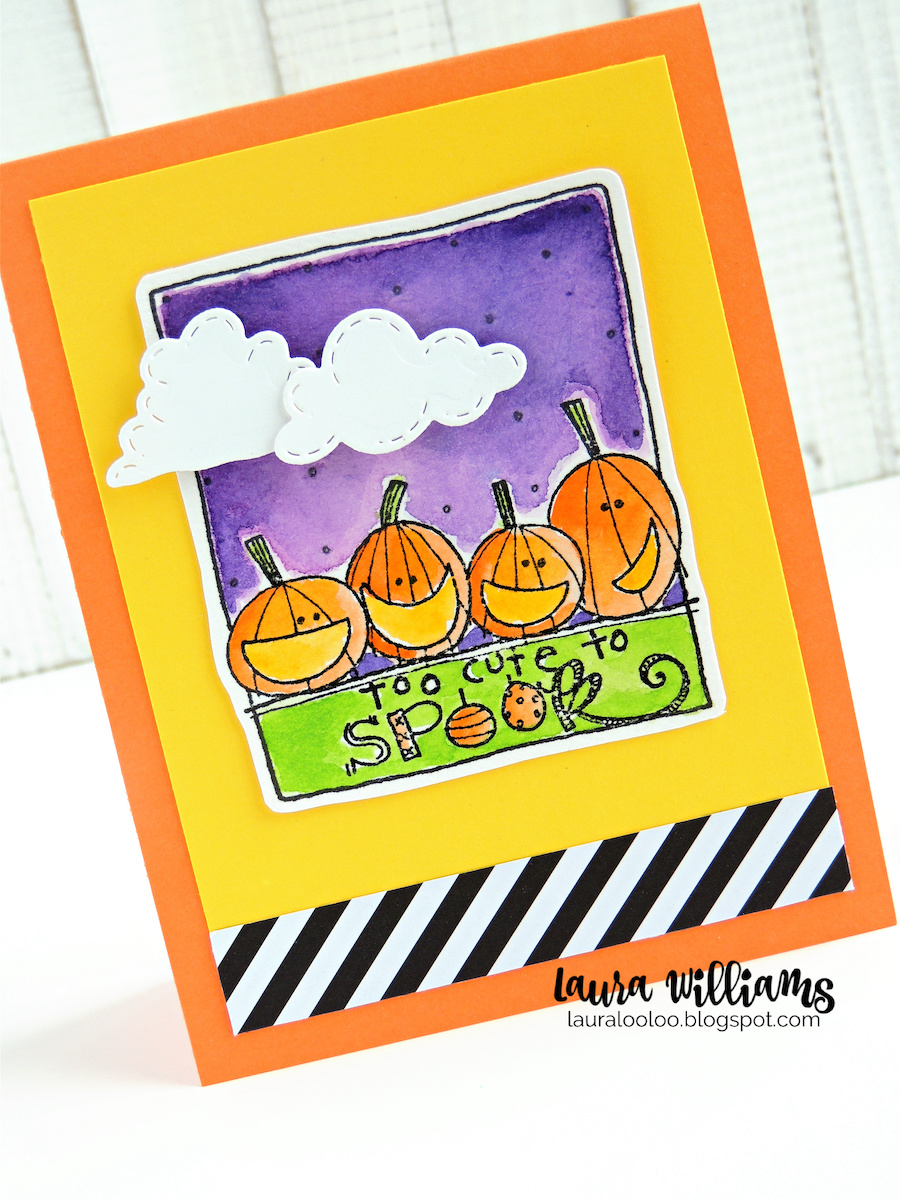 a Happy Halloween card, handmade with rubber stamps and paper. The rectangular stamp has four pumpkins sitting in a row, and the sentiment says Too Cute To Spook.