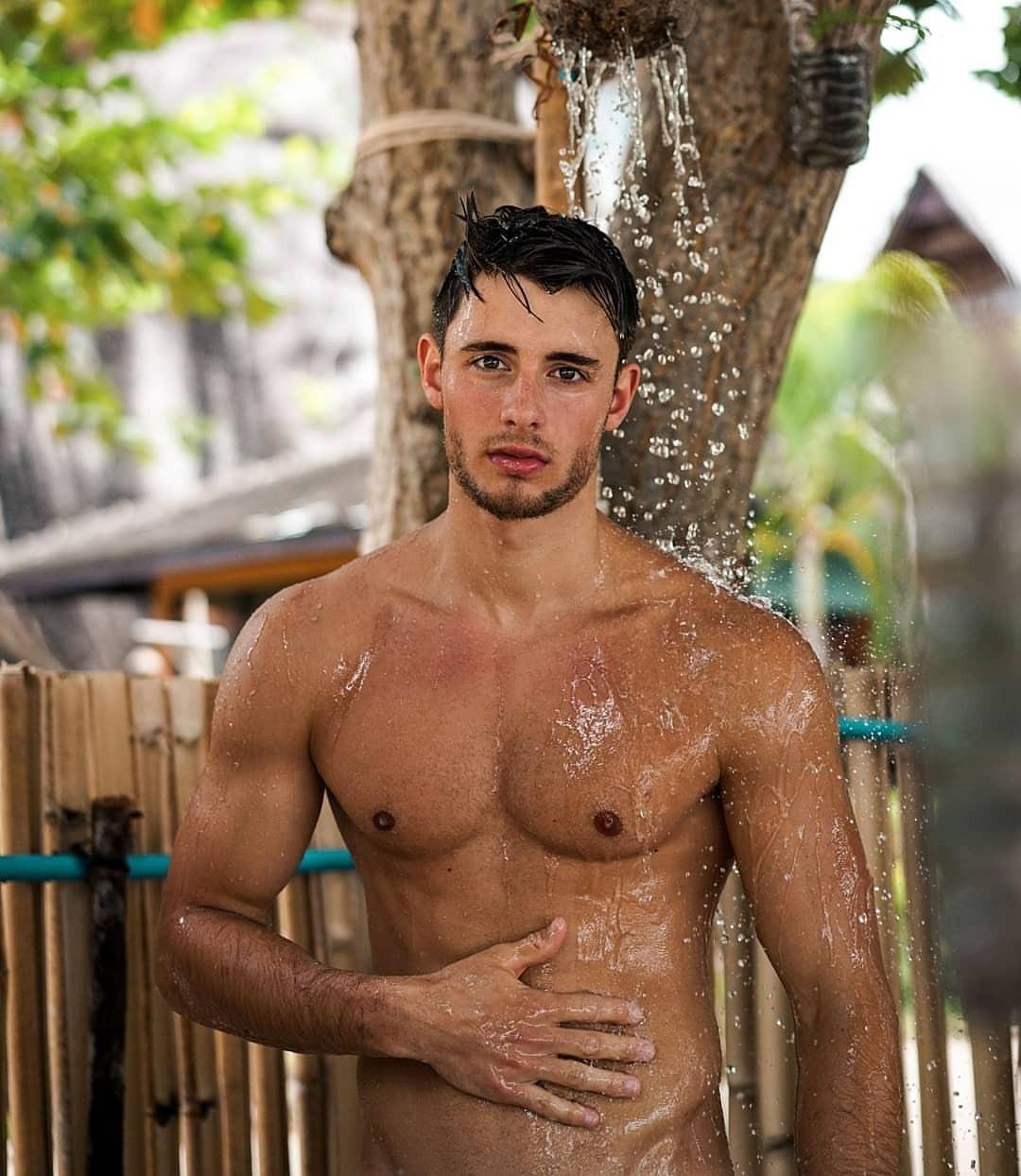 cute-boys-shirtless-twink-showering-outside-male-brunette-model