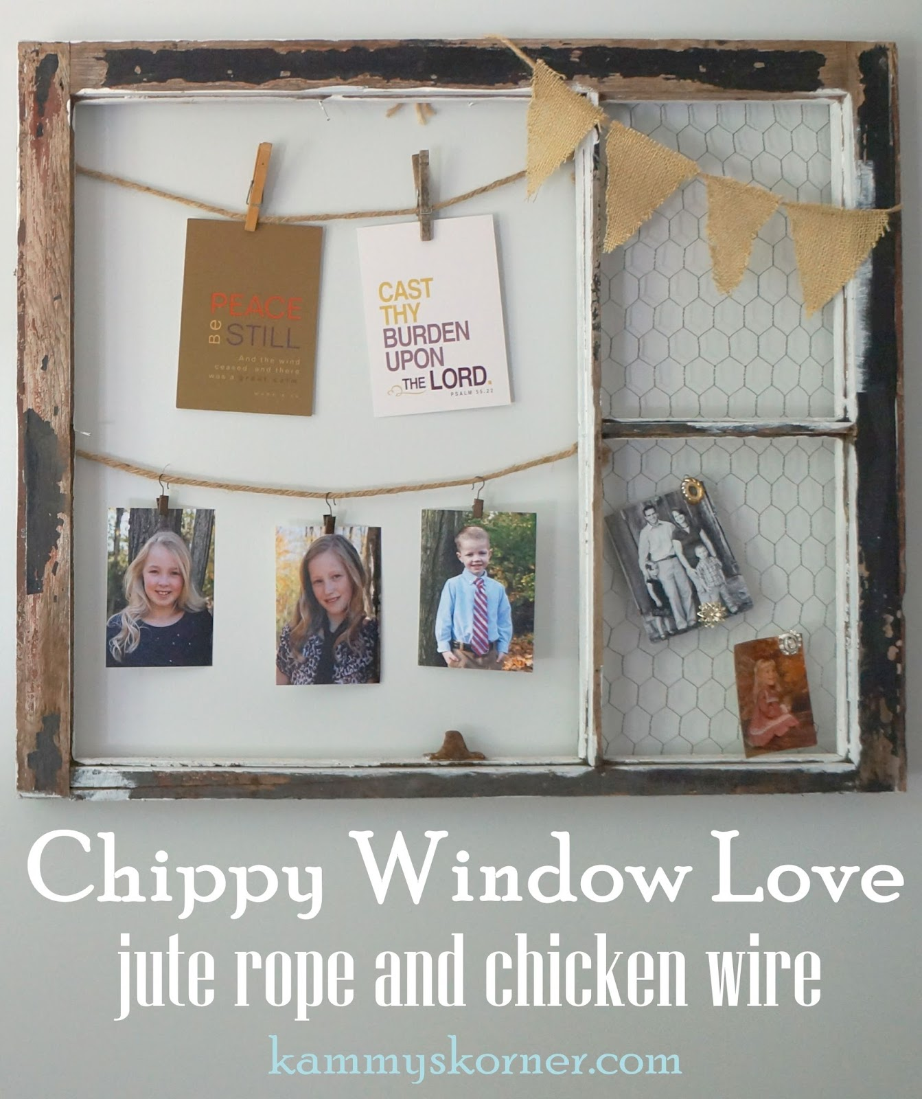 Kammy\'s Korner: Chippy Window With Chicken Wire and Jute