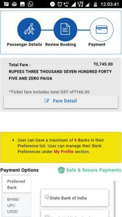 Picture of ticket booking payment options on mobile website