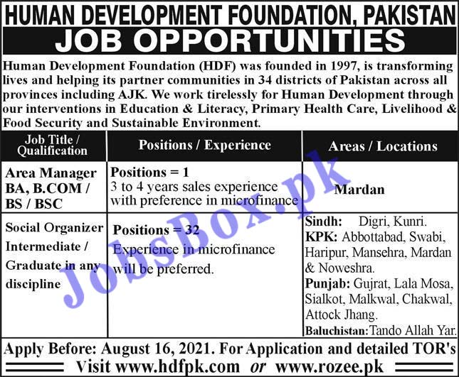Human Development Foundation HDF Pakistan Jobs 2021 – Apply Online