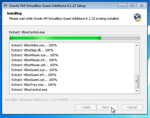 Proses VirtualBox Guest Additions