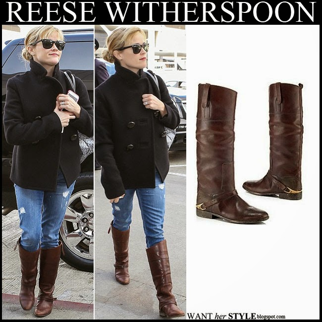 3ac4209811 Reese Witherspoon in black wool coat with brown leather boots by Golden  Goose want her style