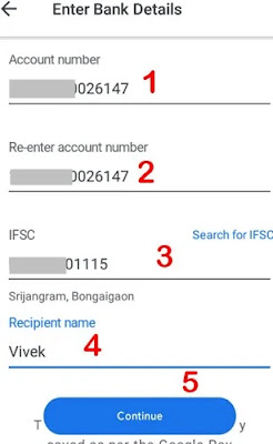 bank account details enter kar continue par click kare
