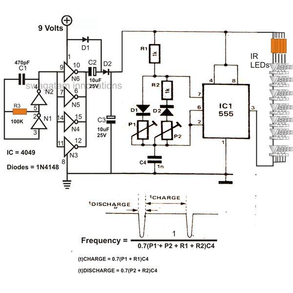 Infrared (IR) LED Flood Light Circuit Diagram