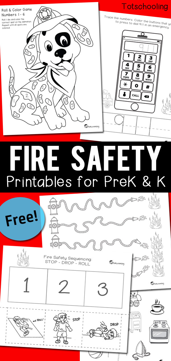 FREE printable Fire Safety pack including Stop, Drop & Roll Sequencing, dialing 911 in an emergency, objects that are safe to touch or not, plus a fun Roll & Color number game with a dalmatian dog, and some pre-writing practice! Great worksheets for PreK & Kindergarten.