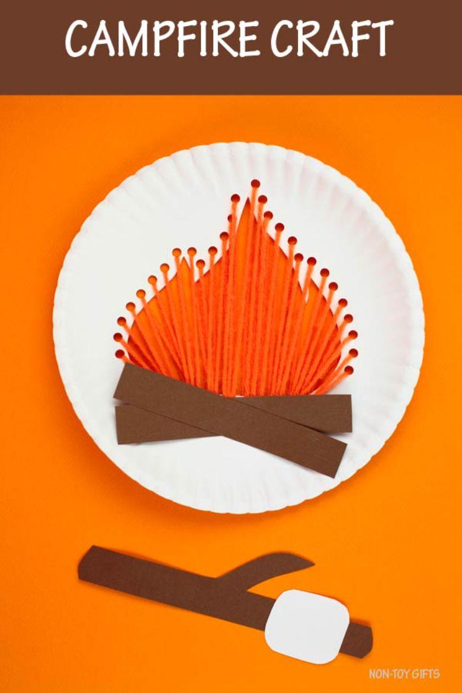 paper plate campfire craft  - summer camp craft for kids