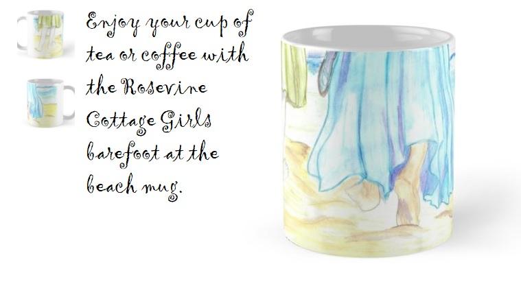 Barefoot at the beach mug | Coffee mug with two women walking in the sand | rosevinecottagegirls.com
