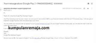 Pengembalian dana Google play Console