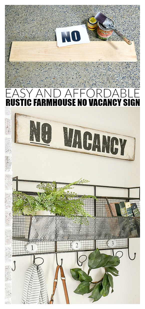 How to make an affordable no vacancy farmhouse sign
